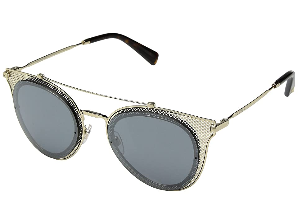 Valentino 0VA2019 (Light Gold/Mirror Black) Fashion Sunglasses