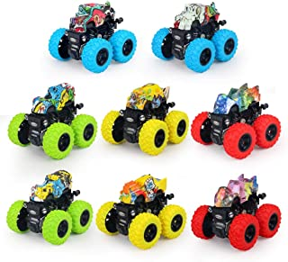 Winsenpro 8PCS Inertia Car Toys for Kids,4WD Monster Trucks,360 Degree Rotation and Friction Powered Cars for Boys Girls 8-Pack