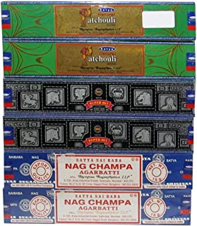 Satya Natural Patchouli, Superhit & Nag Champa Incense Sticks Variety Pack of 6 Boxes, 15 GMS Each, Best Aeromatic Natural...