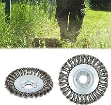 Spazzola per Erbacce Spazzola per Coni Pennello per Smerigliatrice Angolare Decespugliatore Giardino Universale,Giallo,200 x 25,4mm