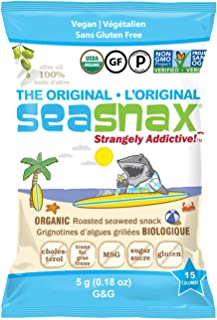 SeaSnax Organic EVOO Roasted Seaweed Snack ORIGINAL 0.18 oz - 6 Count Seaweed Snacks With the Salty Crunch of Chips