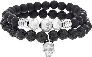 Steve Madden Stainless Steel Skull Station, Simulated Black Onyx, and Lava Stone Beaded Stretch Bracelet Set for Men (SMMB...