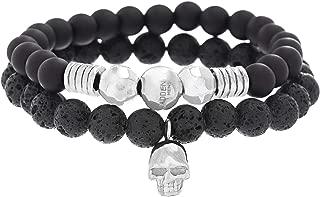 Steve Madden Stainless Steel Skull Station, Black Onyx, and Lava Stone Beaded Stretch Bracelet Set for Men