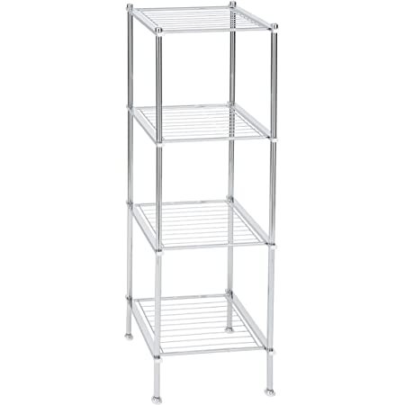 Amazon Com Organize It All 4 Tier Chrome Freestanding Bathroom Storage Shelf Furniture Decor