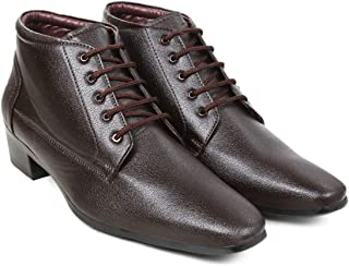 BXXY Men's Brown Height Increasing Faux Leather Formal Lace-Up Boots