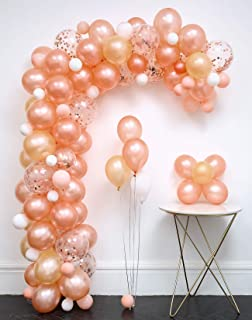 Rose Gold Confetti Balloon 117pcs Garland Kit (Rose Gold.Rose Gold Confetti.Champagne Gold.Baby pink.White.) Tying Tools+Decorating Strip+Points Stickers+Flower Clips+Ribbon Wedding Party Baby Shower