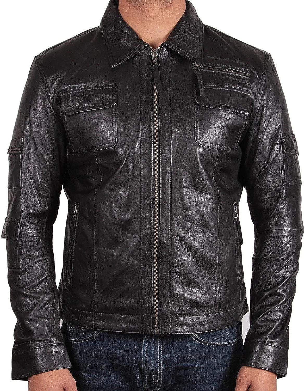 BRANDSLOCK Mens Genuine Leather Biker Jacket Slim Fit