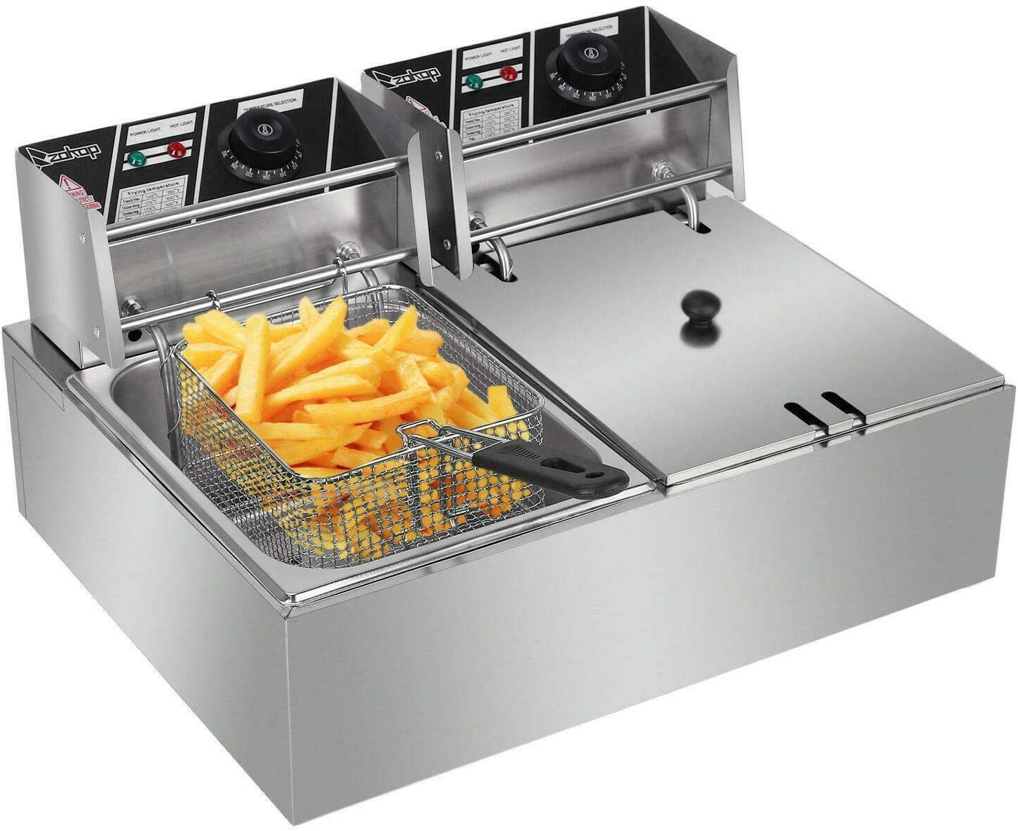 5000W Dual Tank Electric Countertop Assembled Fryer Temper Phoenix Mall Deep Elegant