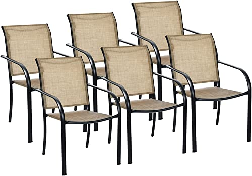 lowest Giantex Set of 6 Patio Chairs, Outdoor Lawn Chairs with Breathable Fabric, Stackable Space Saving Camping Chairs with online sale Armrest for Deck Poolside Beach lowest Yard (6, Dark Beige) sale