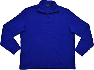 Polo Ralph Lauren Mens French Rib Quarter Zip Mock Neck Sweater (L, Cruise Royal Blue)