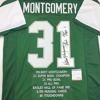 Autographed/Signed Wilbert Montgomery Philadelphia Green Stat Football Jersey PSA/DNA COA
