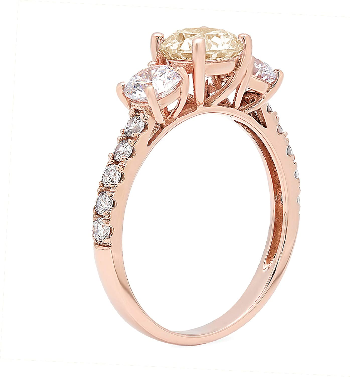 2ct Brilliant Round Cut Solitaire 3 stone With Accent Designer Genuine Natural Morganite Gemstone Ideal VVS1 Engagement Promise Anniversary Bridal Wedding Ring 14k Rose Pink Gold