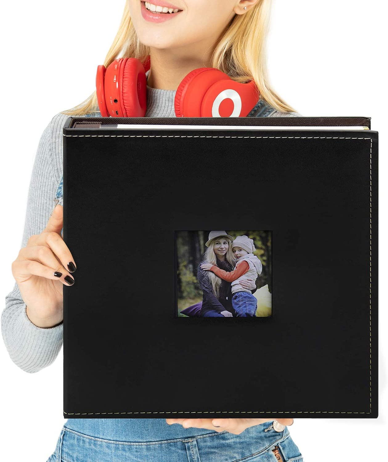 Golden State Art, Self Adhesive Magnetic Photo Album, Self-Stick Albums Holds 3X5, 4X6, 5X7, 6X8, 8X10 DIY Photos-10.6 x 11.4 Inch (Leather Black, 40 Pages, with Front Cover Opening)