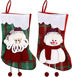 Outgeek 2PCS Christmas Stocking Personalized Xmas Stockings with Snowman Santa Christmas Gifts Bag Hanging Stocking for Fa...
