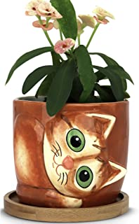 Window Garden – New Large Kitty Pot (Sugar) – Purrfect for Indoor Live House Plants, Like Succulents, Flowers and Herbs. Top Quality, Super Cute Planter Gift for Cat Lovers, Office, Christmas.