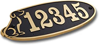 The Metal Foundry Personalised Dog House Number Plaque. Traditional Cast Brass Metal Address Sign with Number and Letter Options. Black Or 6 Choices. Large 5 Numbers Max
