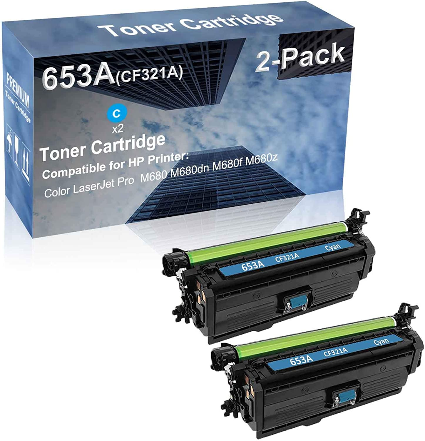 2-Pack (Cyan) Compatible High Capacity 653A (CF321A) Toner Cartridge use for HP M680 M680dn M680f M680z Printer