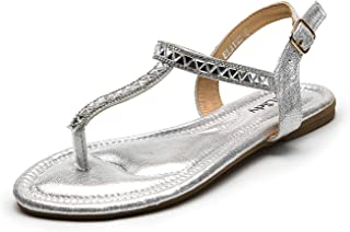 Elaine Sparkly Ankle Strap Flat Sandals for Women