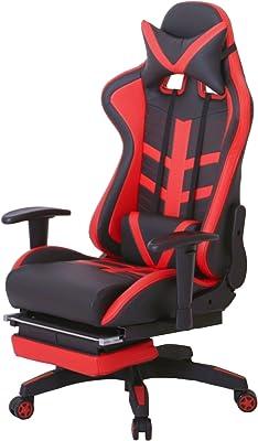 椅子 レーシング オフィスチェア レッド ゲーミングチェア 無段階リクライニング 収納式オットマン 3段階調整アームレスト