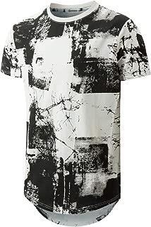 KLIEGOU Mens Hipster Hip Hop Ripped Round Hemline Pattern Print T Shirt (05MC)