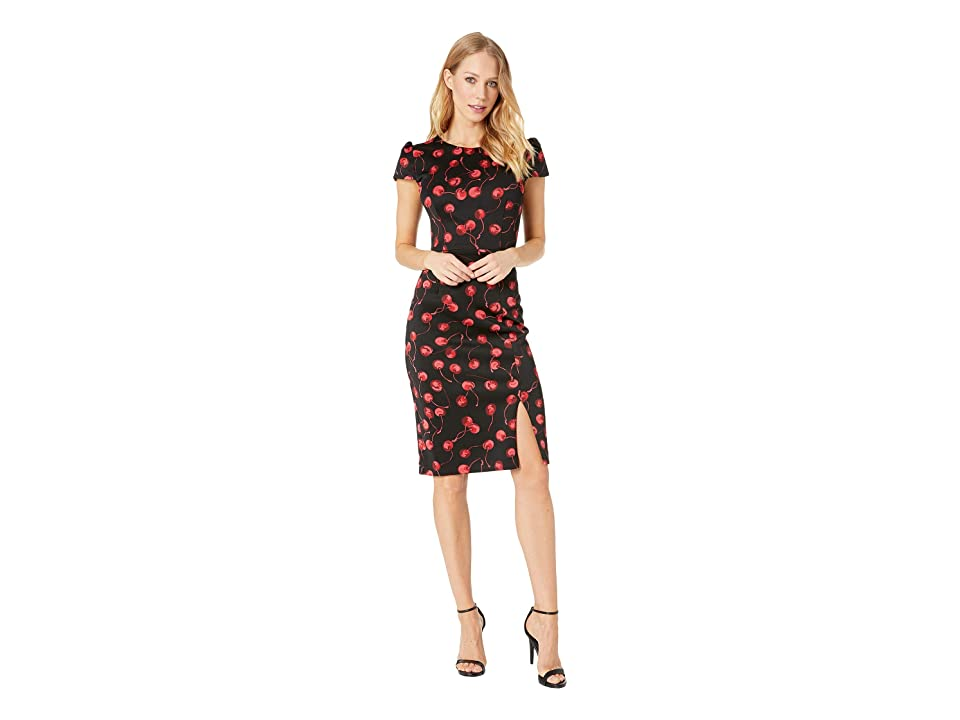 Betsey Johnson Cherry Print Midi Dress (Black/Red) Women