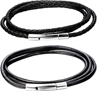 FIBO STEEL 2Pcs 3MM Black Leather Cord Chain Necklace for Men Women with Durable Stainless Steel Clasp