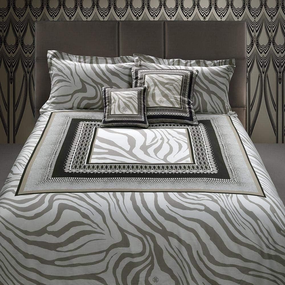 Roberto cavalli frame zebrage,completo lenzuola matrimoniale,in puro raso di cotone al 100 % V003 88337