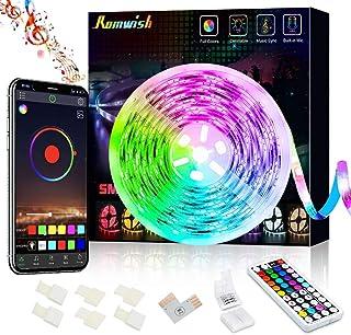 Bluetooth LED Strip Lights 5M, Music Sync Color Changing 5050 RGB LED Light Strip, 44 Keys RF Remote Controll & APP Contro...