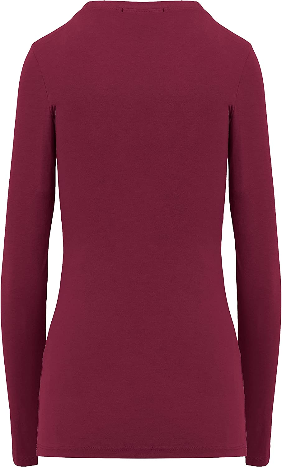 ClothingAve. Women's Comfy Long Sleeve Round Neck Undershirt Fitted Top | Layering, Work, All Season | Value-Pack Available