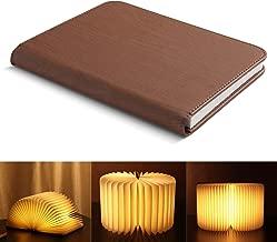 Yissvic Lampada Libro Usb Ricaricabile e Pieghevole in Carta Kraft Luce LED Lampada a Libro 3 Colori Luce Lampada a Forma di libro 1700 mAh