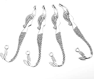 Monrocco 25 Pack Antique Silver Mermaid Bookmarks Book Mark Blanks Beading Carved Hook Metal Bookmarks for DIY Crafts