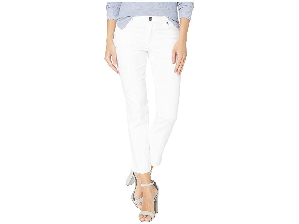 KUT from the Kloth Reese Ankle Straight Leg Jeans w/ Release Hem in Optic White (Optic White) Women