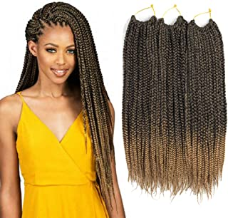 VRHOT 6Packs 18'' Box Braids Crochet Hair Small Synthetic Hair Extensions Twist Crochet Braids Hairstyles Braiding Hair Style Long Dreadlocks for Black Women 18 inch (18 inch, T1B/27)