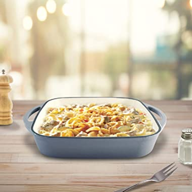"""ChefVentions 10"""" Square Cast Iron Baker Heavy Duty Enameled Interior and Exterior - Multi Use Pan - Stovetop, Gas, Electr"""