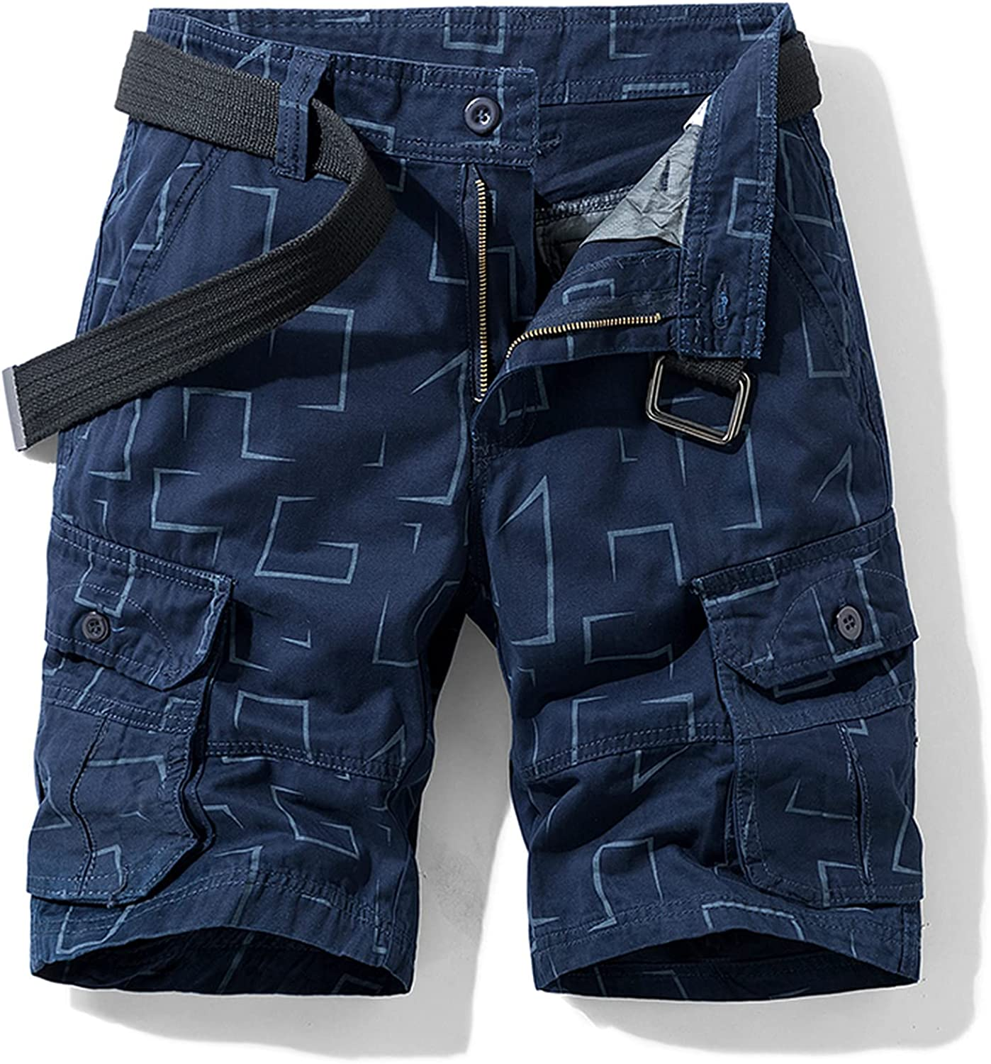B dressy New Summer Cargo Shorts Men Camouflage Cotton Khaki Loose Casual Outwear Overalls-Blue-2-36