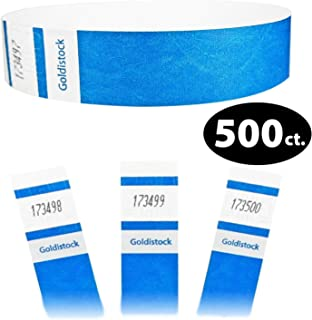 """Tyvek Wristbands - Goldistock Select Series Vibrant Neon Blue 500 Count - ¾"""" Arm Bands - Paper-Like Party Armbands - Fan-Folded (Better Security) - Heavier Tyvek Wrist Bands = Upgrading Your Event"""