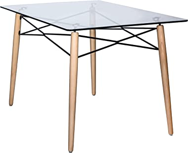 LeisureMod Calbert 4Ft Rectangle Clear Glass Top Dining Table with Natural Wood Eiffel Base