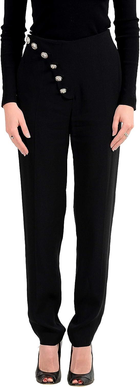 Versus by Versace Women's Black Designed Casual Pants US 8 IT 44