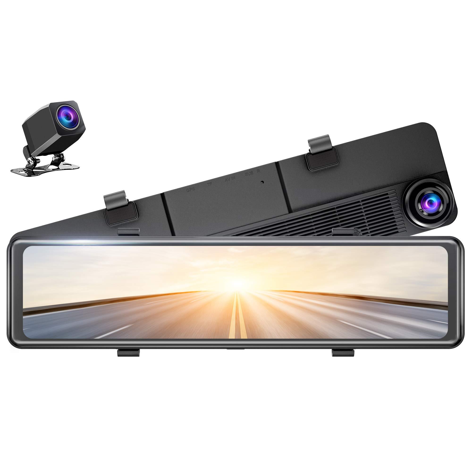 EKLEVA 12 Inch IPS Touch Screen 2K FHD Car DVR Dash Camera Dual Lens Video Stream Media Recorder Rearview Mirror 1080P Back Camera Mirror Dash Cam with Night Vision /& Parking Monitor