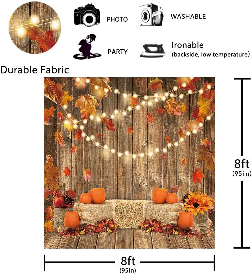 Funnytree 7x5FT Soft Fabric Fall Pumpkin Photography Backdrop Autumn Thanksgiving Harvest Hay Leaves Wooden Background Sunflower Maple Baby Shower Banner Decoration Party Supplies Photo Booth Prop