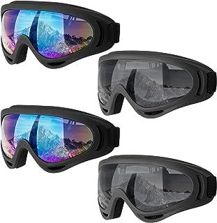 Dapaser 2/4 pack Ski Goggles, Snowboard Goggles for Adults Men Women Youth Kids Boys Girls, Soft Motorcycle Atv Winter Spo...