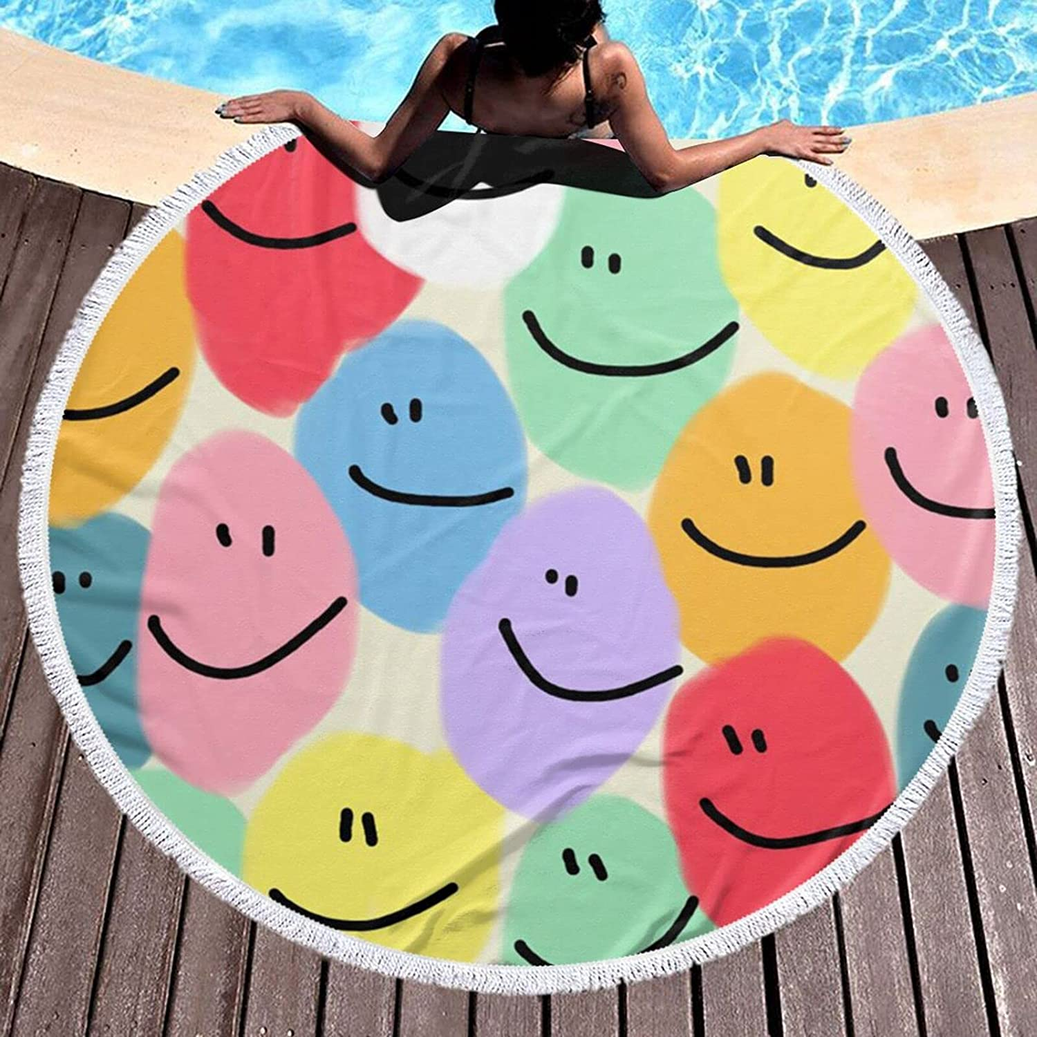 Colorful Melting Boston Mall Smiley Outlet SALE Face Hawaii Towel Usag Beach Multi Round