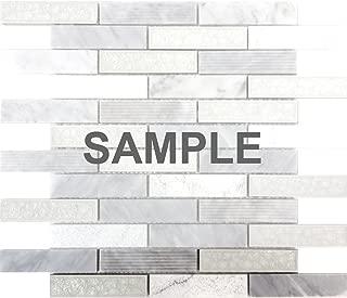 Modket TDH44MO-S Sample White Carrara Marble Stone Mosaic Tile Crackle Glass Blend Kitchen Backsplash