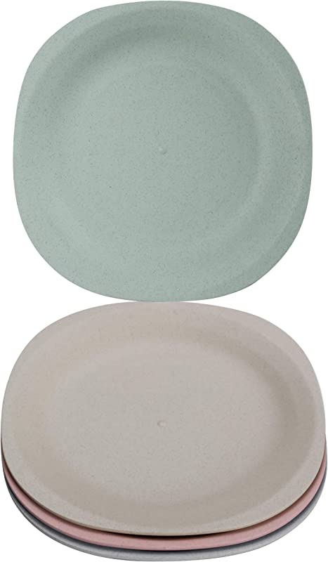 Brightbuy Wheat Straw Plates 4 Pack 7 28 Inch Unbreakable Non Toxin Healthy Eco Friendly Dishes Dishwasher Microwave Safe Easy Clean Lunch Tableware Dinnerware Fruit Snack Containers