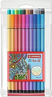 Premium Filzstift   STABILO Pen 68   20er Pack   mit 20 verschiedenen Farben