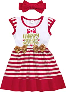 Mother's Day Outfit Infant Toddler Girl Sleeveless Red Stripe Dress with Headband 6M-3T