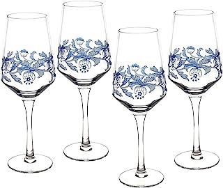 Spode Blue Italian Glassware Wine Glasses, S/4