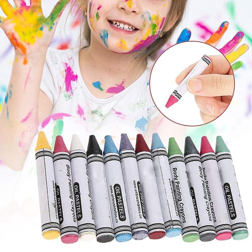 電球まつげふける12色 人体の彩絵クレヨン、パーティー祝日 子供用 環境保護 プレゼント