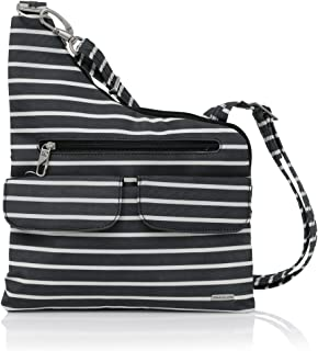 Travelon Anti-Theft Cross-Body Bag, Two Pocket (Black W/White Stripe - Exclusive Color)