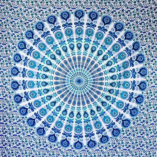 MOMOMUS Arazzo Mandala - 100% Cotone, Grande, Multiuso - Telo Arredo Copridivano/Copritutto - Copriletto Matrimoniale - Plaid/Gran Foulard per Divano, 210x230cm Blu